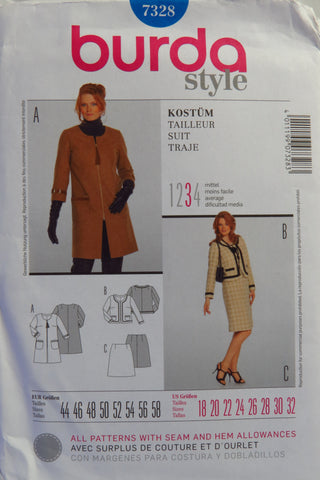 Burda 7328 Misses' and Women's Suit - 18-20-22-24-26-28-30-32 - Smiths Depot Sewing Pattern Superstore