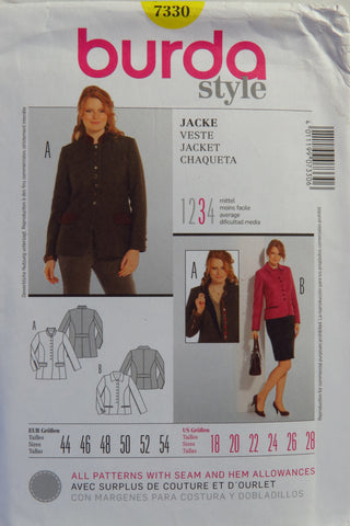 Burda 7330 Misses' and Women's Jacket - 18-20-22-24-26-28 - Smiths Depot Sewing Pattern Superstore