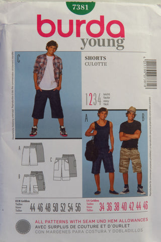 Burda 7381 Men's and Teens' Shorts - 34-36-38-40-42-44-46 - Smiths Depot Sewing Pattern Superstore