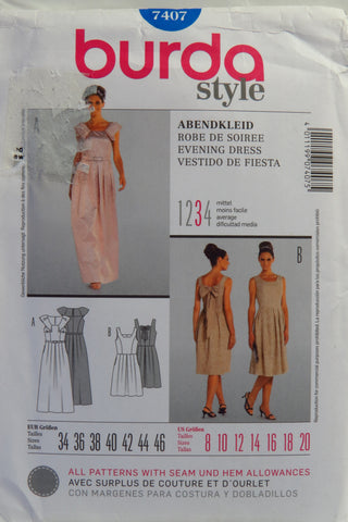 Burda 7407 Misses' Evening Dress - 8-10-12-14-16-18-20 - Smiths Depot Sewing Pattern Superstore