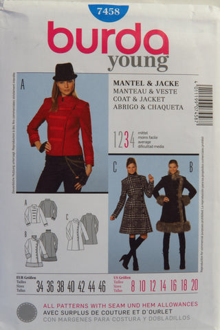 Burda 7458 Misses' Coat and Jacket - 8-10-12-14-16-18-20 - Smiths Depot Sewing Pattern Superstore