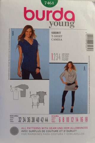 Burda 7641 Misses' Shirt - 6-8-10-12-14-16-18 - Smiths Depot Sewing Pattern Superstore