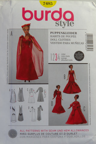 Burda 7485 Fashion Doll Clothes -  - Smiths Depot Sewing Pattern Superstore