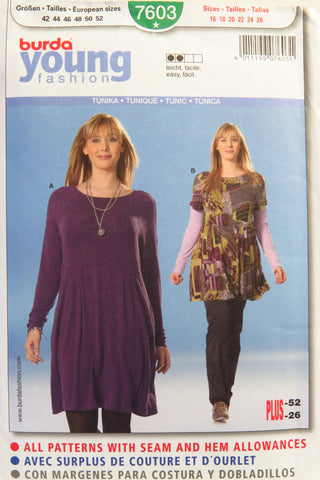 Burda 7603 Misses' Tunic - 16-18-20-22-24-26 - Smiths Depot Sewing Pattern Superstore