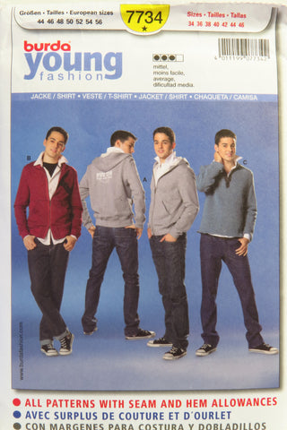 Burda 7734 Men's and Teens' Shirt or Jacket - 34-36-38-40-42-44-46 - Smiths Depot Sewing Pattern Superstore