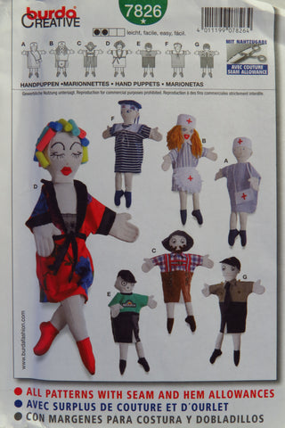 Burda 7826 Hand Puppets -  - Smiths Depot Sewing Pattern Superstore