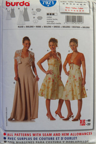 Burda 7921 Misses' Dress and Bolero - 10-12-14-16-18-20-22 - Smiths Depot Sewing Pattern Superstore