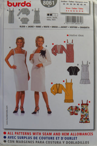 Burda 8061 Misses' Dress and Jacket - 6-8-10-12-14-16-18 - Smiths Depot Sewing Pattern Superstore