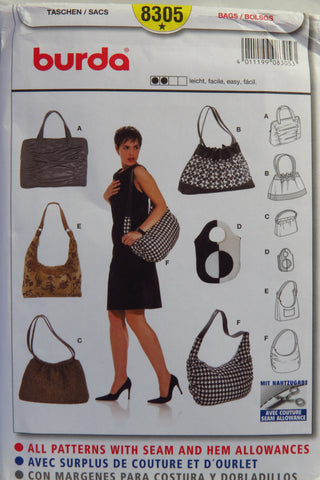 Burda 8305 Women's Bags -  - Smiths Depot Sewing Pattern Superstore