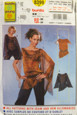 Burda 8399 Misses' Shirt - 6/8-10/12-14/16-18/20-22/24 - Smiths Depot Sewing Pattern Superstore