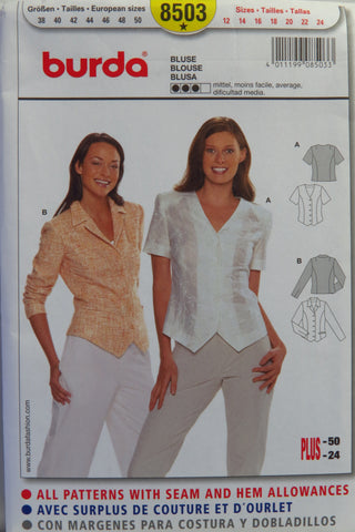 Burda 8503 Misses' Blouse - 12-14-16-18-20-22-24 - Smiths Depot Sewing Pattern Superstore