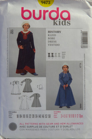 Burda 9473 Girls' Costumes - 3-4-5-6-7-8-9-10-11-12-13 - Smiths Depot Sewing Pattern Superstore