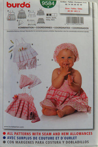 Burda 9584 Babies' Coordinates - 6M-9M-12M-2-3 - Smiths Depot Sewing Pattern Superstore