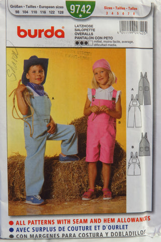 Burda 9742 Boys' and Girls' Overalls - 3-4-5-6-7-8 - Smiths Depot Sewing Pattern Superstore