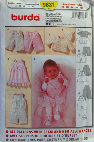 Burda 9831 Babies' Coordinates - 1M-3M-6M-9M-12M - Smiths Depot Sewing Pattern Superstore