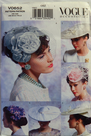 Vogue 0652 Misses' Vintage Hats -  - Smiths Depot Sewing Pattern Superstore
