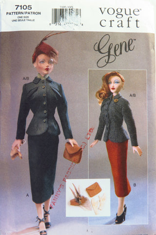 Vogue 7105 Fashion Doll Clothes Gene Day Wear -  - Smiths Depot Sewing Pattern Superstore