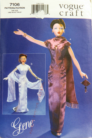 Vogue 7106 Fashion Doll Clothes, Gene Doll Evening Dresses -  - Smiths Depot Sewing Pattern Superstore