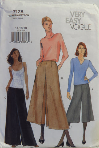 Vogue 7178 Misses' Culottes - 14-16-18 - Smiths Depot Sewing Pattern Superstore