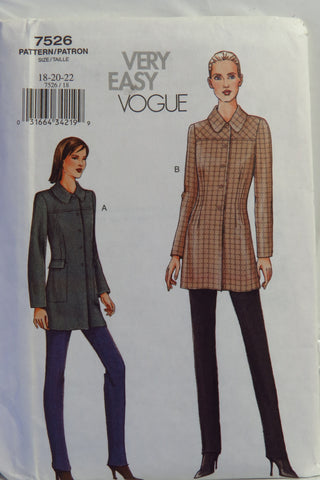 Vogue 7526 Misses' and Misses' Petite Jacket and Pants - 18-20-22 - Smiths Depot Sewing Pattern Superstore