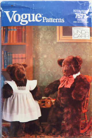 Vogue 7572 Stuffed Bears -  - Smiths Depot Sewing Pattern Superstore