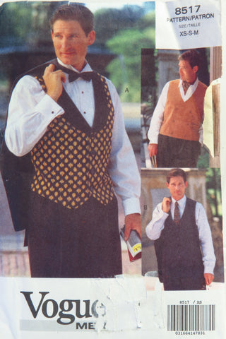 Vogue 8517 Men's Vest - XS-S-M - Smiths Depot Sewing Pattern Superstore  - 1