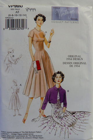 Vogue 0920 Misses' Dress and Bolero -  - Smiths Depot Sewing Pattern Superstore  - 1