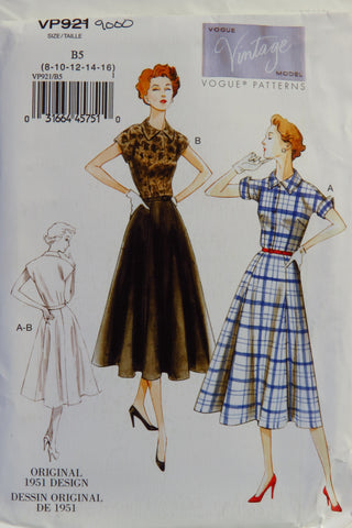 Vogue 0921 Misses' Dress and Belt - B5 (8-10-12-14-16) - Smiths Depot Sewing Pattern Superstore  - 1