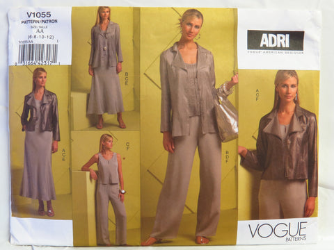 Vogue 1055 Misses' Jacket, Top, Skirt and Pants - AA (6-8-10-12) - Smiths Depot Sewing Pattern Superstore