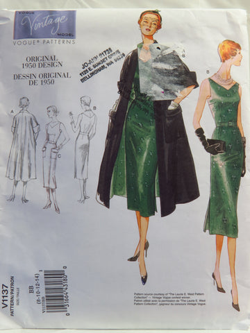 Vogue 1137 Misses Coat, Dress and Belt - BB (8-10-12-14) - Smiths Depot Sewing Pattern Superstore