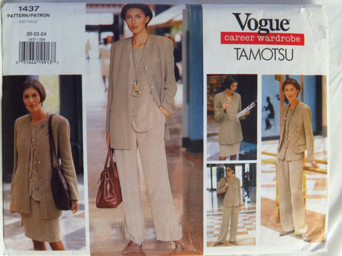 Vogue 1437 Misses' Jacket, Vest, Top, Skirt and Pants - 20-22-24 - Smiths Depot Sewing Pattern Superstore  - 1