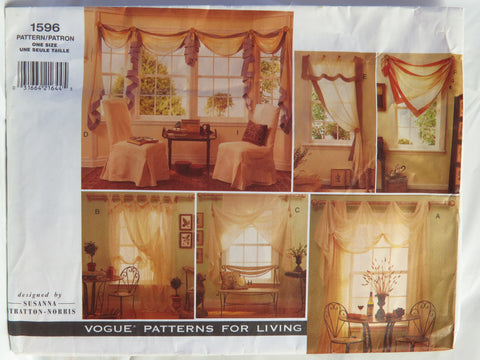 Vogue 1596 Window Treatments, Chair Cover and Pillows -  - Smiths Depot Sewing Pattern Superstore