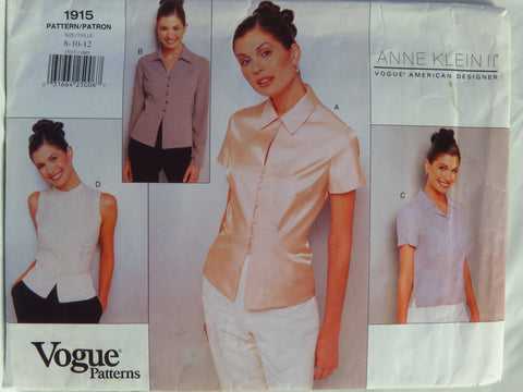 Vogue 1915 Misses' Blouse - 8-10-12 - Smiths Depot Sewing Pattern Superstore