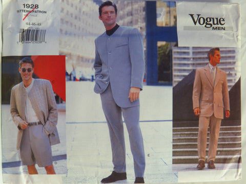 Vogue 1928 Men's Jacket, Shorts and Pants - 44-46-48 - Smiths Depot Sewing Pattern Superstore