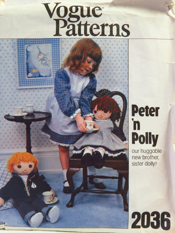 Vogue 2036 Boy and Girl Dolls with Clothes and Transfers -  - Smiths Depot Sewing Pattern Superstore