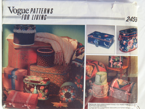 Vogue 2459 Band Boxes -  - Smiths Depot Sewing Pattern Superstore