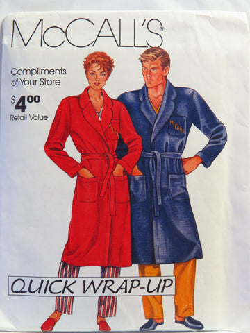 McCall's 0011 Misses' and Men's Robe - S-M-L-XL - Smiths Depot Sewing Pattern Superstore