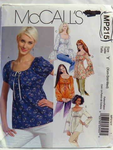 McCall's 0215 Misses' Tops and Tunics - Y (Xsm-Sml-Med) - Smiths Depot Sewing Pattern Superstore
