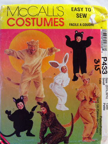McCall's 0433 Adults' and Kids' Animal Costumes - 31½-32½ - Smiths Depot Sewing Pattern Superstore