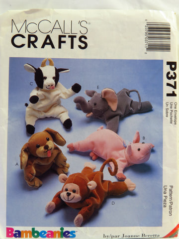 McCall's 0371 Bean Bag Animals -  - Smiths Depot Sewing Pattern Superstore