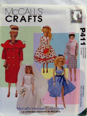 McCall's 0411 11½ Fashion Doll Clothes -  - Smiths Depot Sewing Pattern Superstore