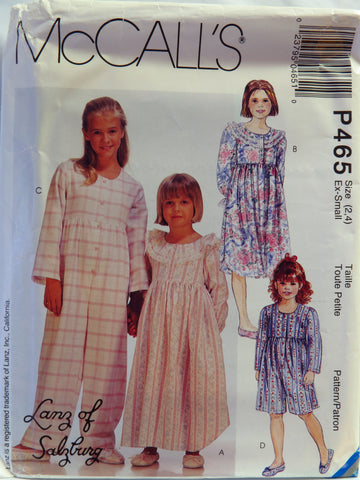 McCall's 0465 Children's and Girls' Nightgown in Two Lengths, Jumpsuit in Two Lengths and Slippers - Ex-Small (2-4) - Smiths Depot Sewing Pattern Superstore  - 1
