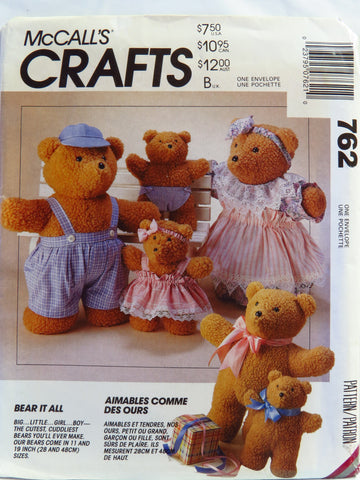 McCall's 0762 Bear Dolls and Clothes -  - Smiths Depot Sewing Pattern Superstore