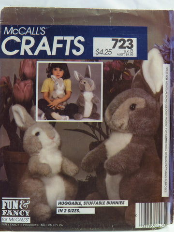 McCall's 0723 Stuffed Bunny Package -  - Smiths Depot Sewing Pattern Superstore