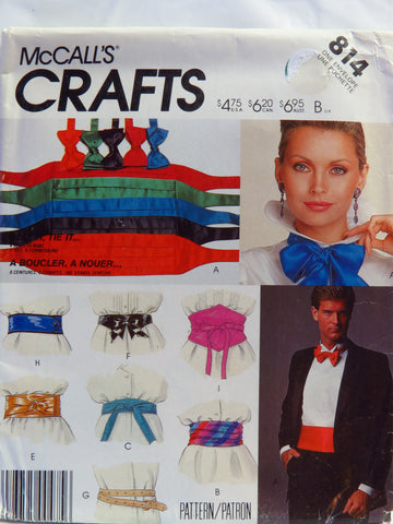 McCall's 0814 Belt and Tie Package -  - Smiths Depot Sewing Pattern Superstore