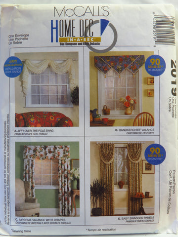 McCall's 2019 Window Treatments -  - Smiths Depot Sewing Pattern Superstore
