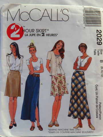 McCall's 2029 Misses' Skirts in Two Lengths - B (8-10-12) - Smiths Depot Sewing Pattern Superstore