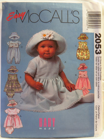 McCall's 2053 Infants' Dress, Rompers in Two Lengths with Snap Crotch, Panties and Hat -  - Smiths Depot Sewing Pattern Superstore