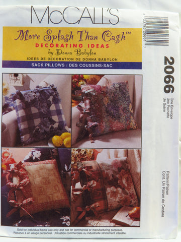 McCall's 2066 Sack Pillows -  - Smiths Depot Sewing Pattern Superstore