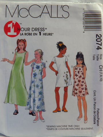 McCall's 2074 Girls' Dress in Two Lengths - CH (7-8-10) - Smiths Depot Sewing Pattern Superstore